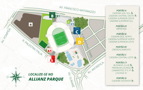 Mapa geral do Allianz Parque