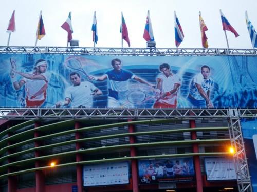 Painel na entrada do ginásio do Ibirapuera (Esportividade)