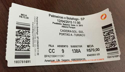 Ingresso de jogo do Palmeiras no Paulista-2015 (Elias Rovielo)