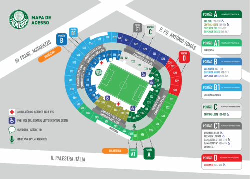 Mapa do Allianz Parque e setores