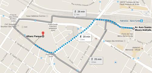 Caminho da estação Palmeiras-Barra Funda ao portão A (Google Maps)