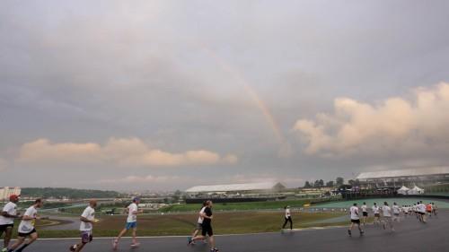 Arco-íris durante Run Stock Car em Interlagos (Stock Car/Divulgação)