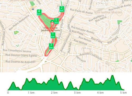 Percurso da prova e altimetria (RunKeeper)
